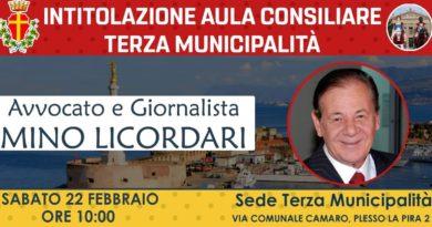 Intitolazione sala consiliare Terza Municipalità a Mino Licordari, oggi sabato 22 febbraio